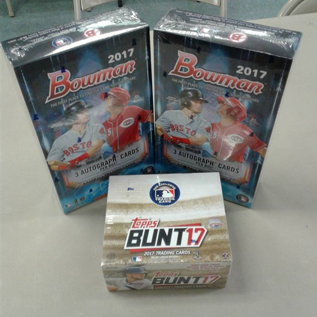 We have 2017 Bowman Baseball Jumbo and 2017 Topps Bunt Baseball boxes in stock now! Stop in and get yours while supplies last! This is a hot product so make sure you get yours today! #BowmanBaseball #ToppsBunt #Baseball #SportsCards #CardCollector