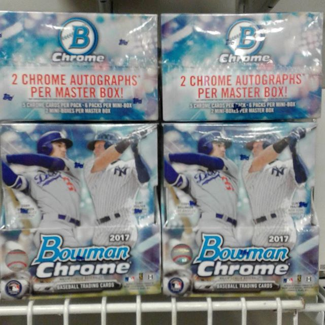 Bowman Chrome is in stock now! Stop in and get yours while supplies last, this product is going to go fast! #BowmanBaseball #Chrome #SportsCards #Collectables