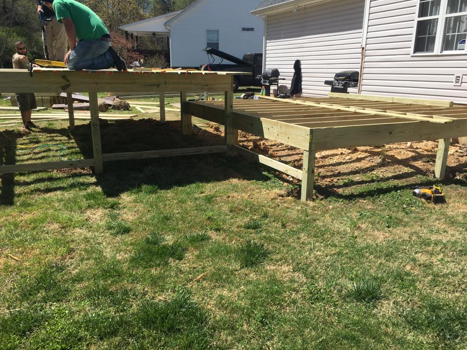 wood deck in progress