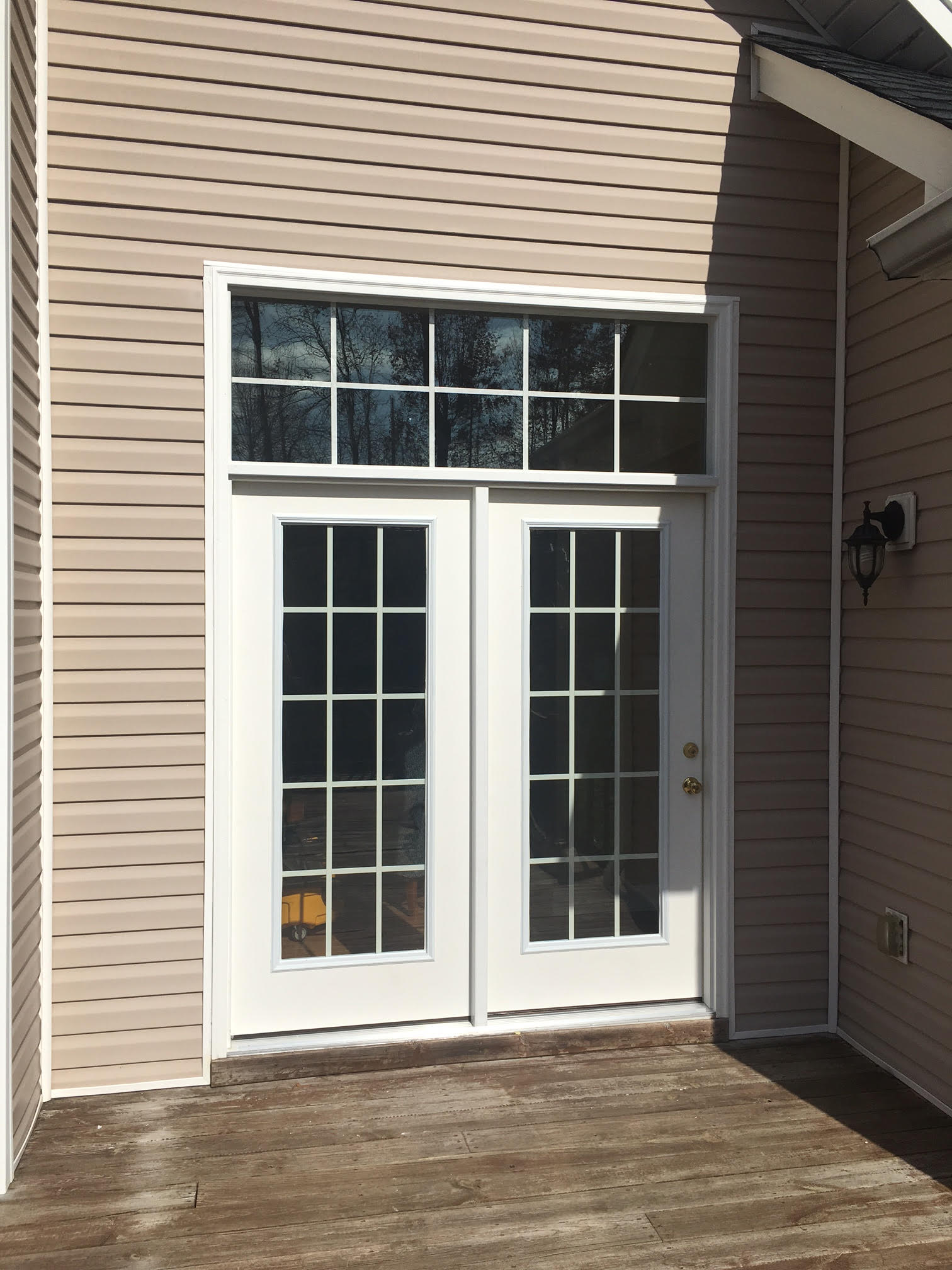 fiberglass patio door with transom