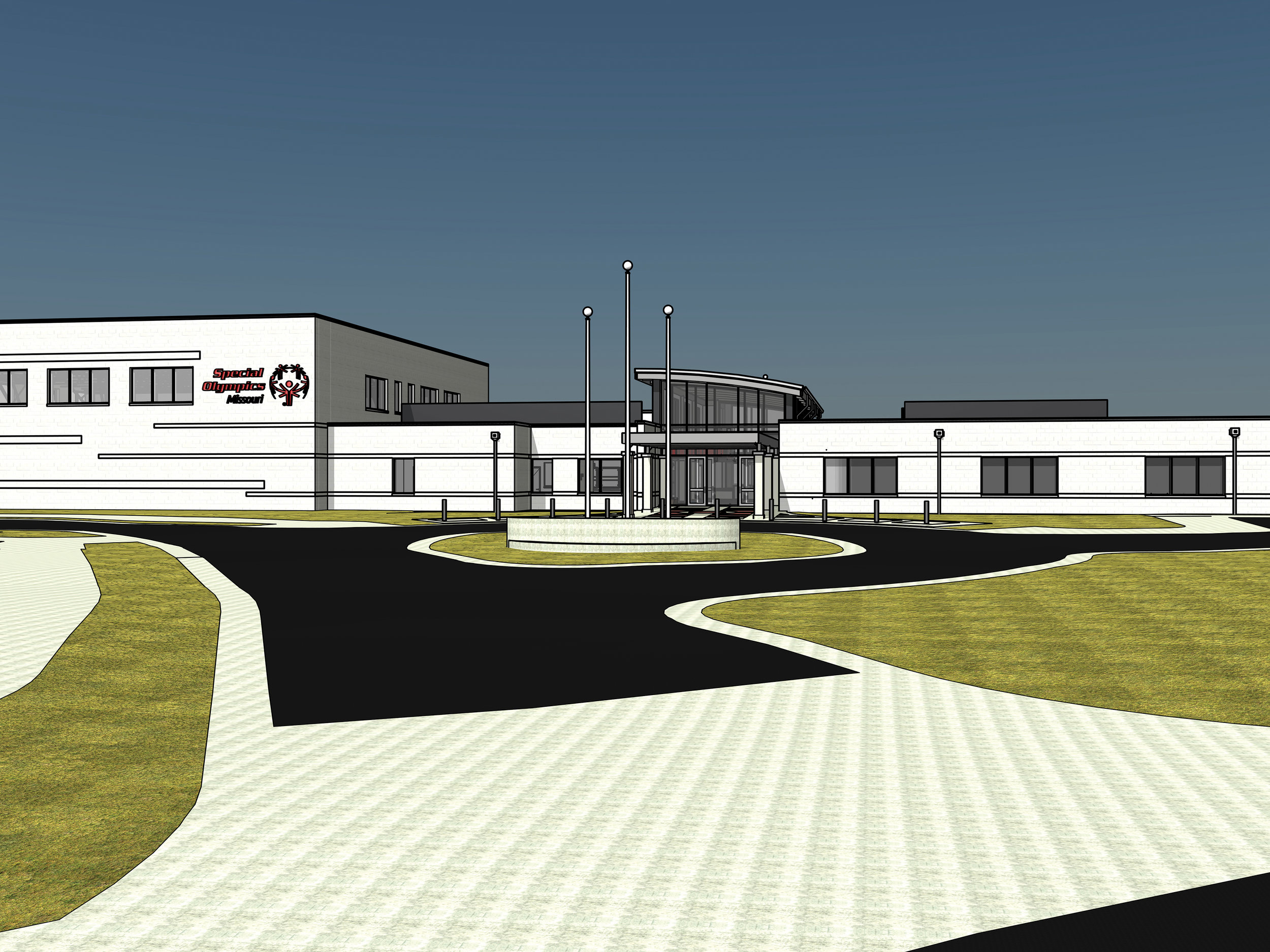 Home - This is the latest rendering of the front entrance to the Training for Life Campus. The left-hand side with the SOMO logo is the Centene Charitable Foundation Sports & Recreation Arena, while the right-hand side is where SOMO's Headquarters and Central Area offices and the Missouri State Knights of Columbus Sports Education Multimedia Center will be housed.