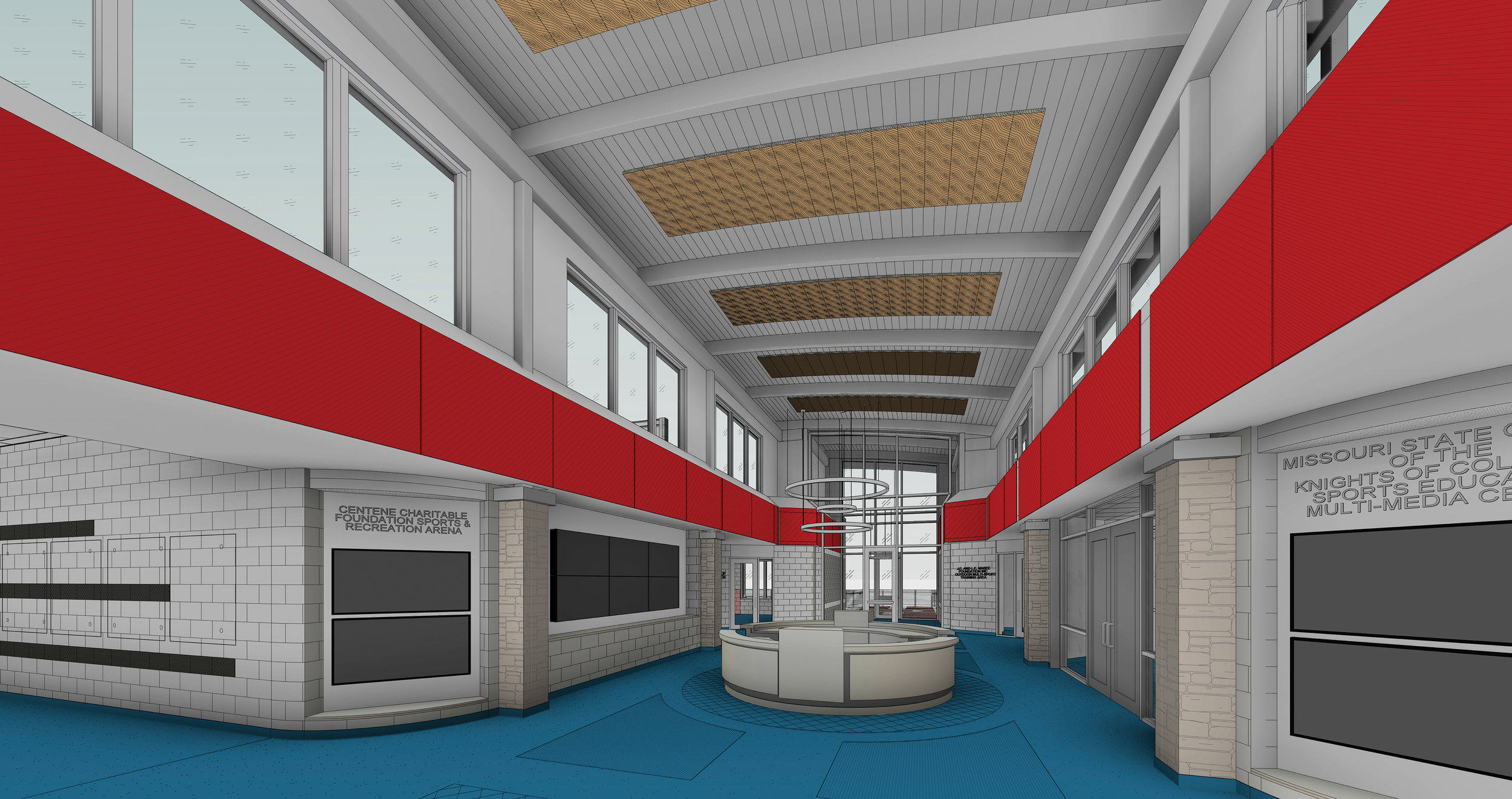 The interior lobby of the main facility of the SOMO Training for Life Campus will feature an accessible entrance, natural light and access to classroom training rooms and the indoor sports arena.