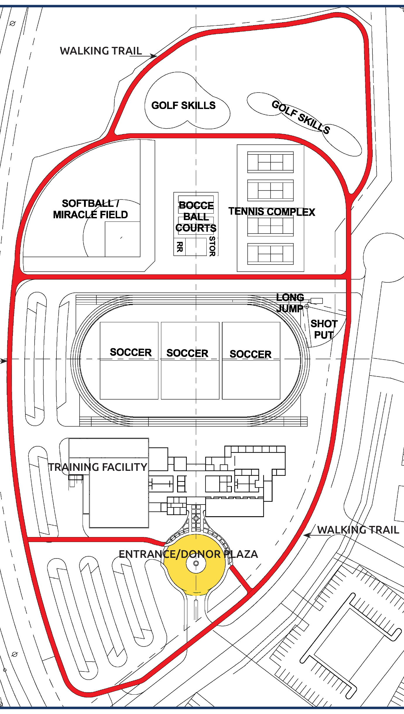 The 16.5-acre Training for Life Campus will feature training areas for many different sports. The TLC Tribute Trail, indicated above in red, begins at the Donor Plaza (to be located near the drop-off building entrance in yellow) and winds around the campus, offering opportunities for scenic strolls or exercise walking with tribute markers along the way.