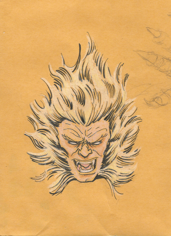 "Sabertooth   Paper - Manila Folder piece  Size - 3.5"" x 4.5""   Medium - HB Pencil, Tombow Fudenosuke Brush Pen(Hard Tip), Prismacolor colored pencils."