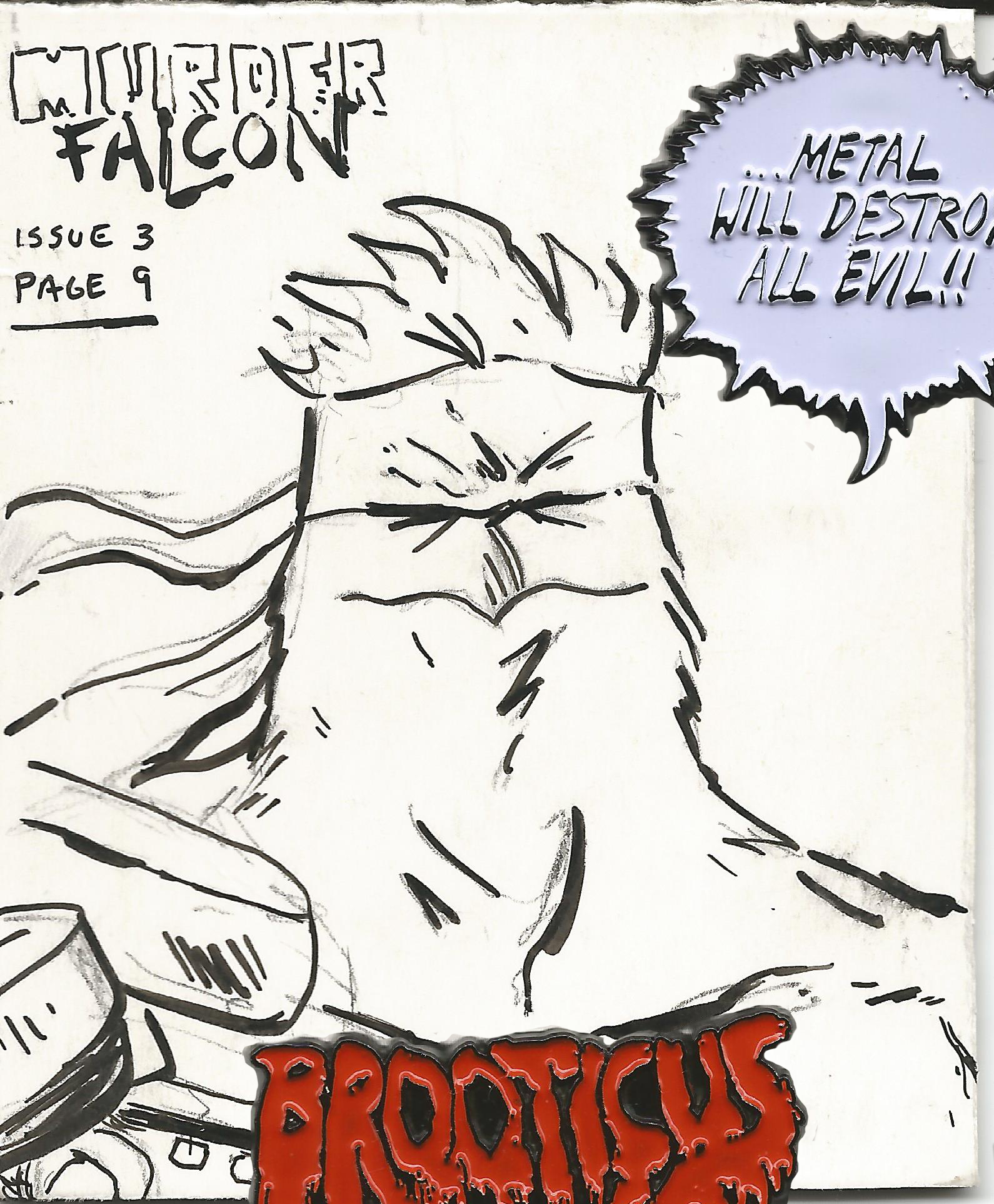"""Here's a little Fan Art piece of Murder Falcon. I'm a huge fan of Daniel Warren Johnson. Everyone should check out his work…Extremity and Murder Falcon are Badass!  Paper - Dickies work sock packaging (backside)   Size - 3.25"""" x 2.5""""  Medium - HB Pencil, Tombow Fudenosuke Pen Brush (Hard tip)."""
