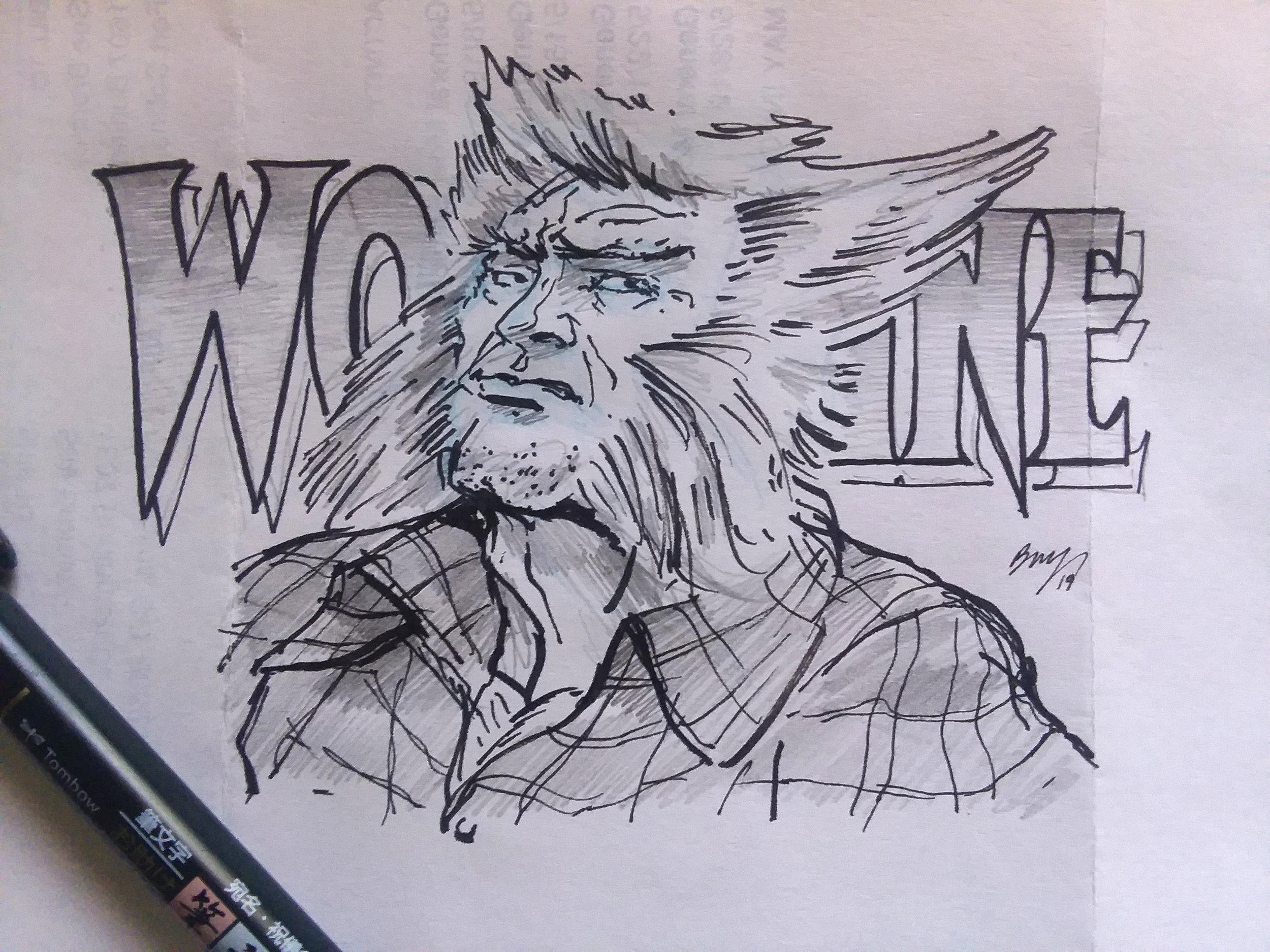 "Wolverine   Paper - Used Typing  Size - 6"" x 4.5""  Medium - HB Pencil ; Tombow Fudenosuke Brush Pen, Hard Tip; Eraser - Kneaded / Stick."