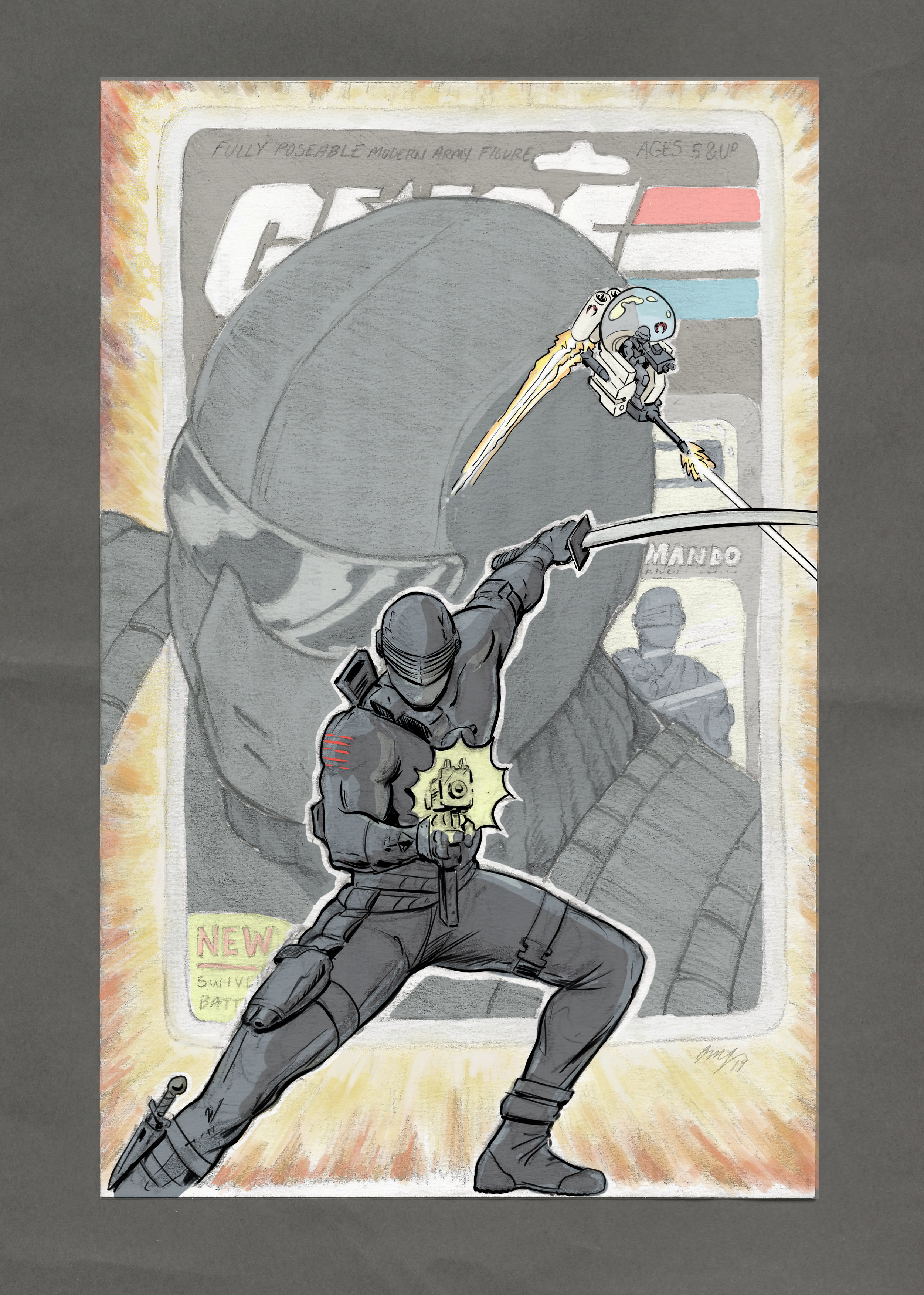 """Snake Eyes Homage  - Large head shot is based on the original design(1982). Snake Eyes in a Cobra Trouble Bubble (inspired by opening sequence of the animated G.I.Joe The Movie). The card back is a mishmash of the original and newer versions. Foreground Snake Eyes is the 1985 Version.  Paper - Typing  Size - 8.5'"""" x 5.5""""(folded)  Medium - Drafting Pencil lead and HB Pencil ; Eraser - Kneaded / Stick.  Color - Digital Color (Sketchbook Pro)"""