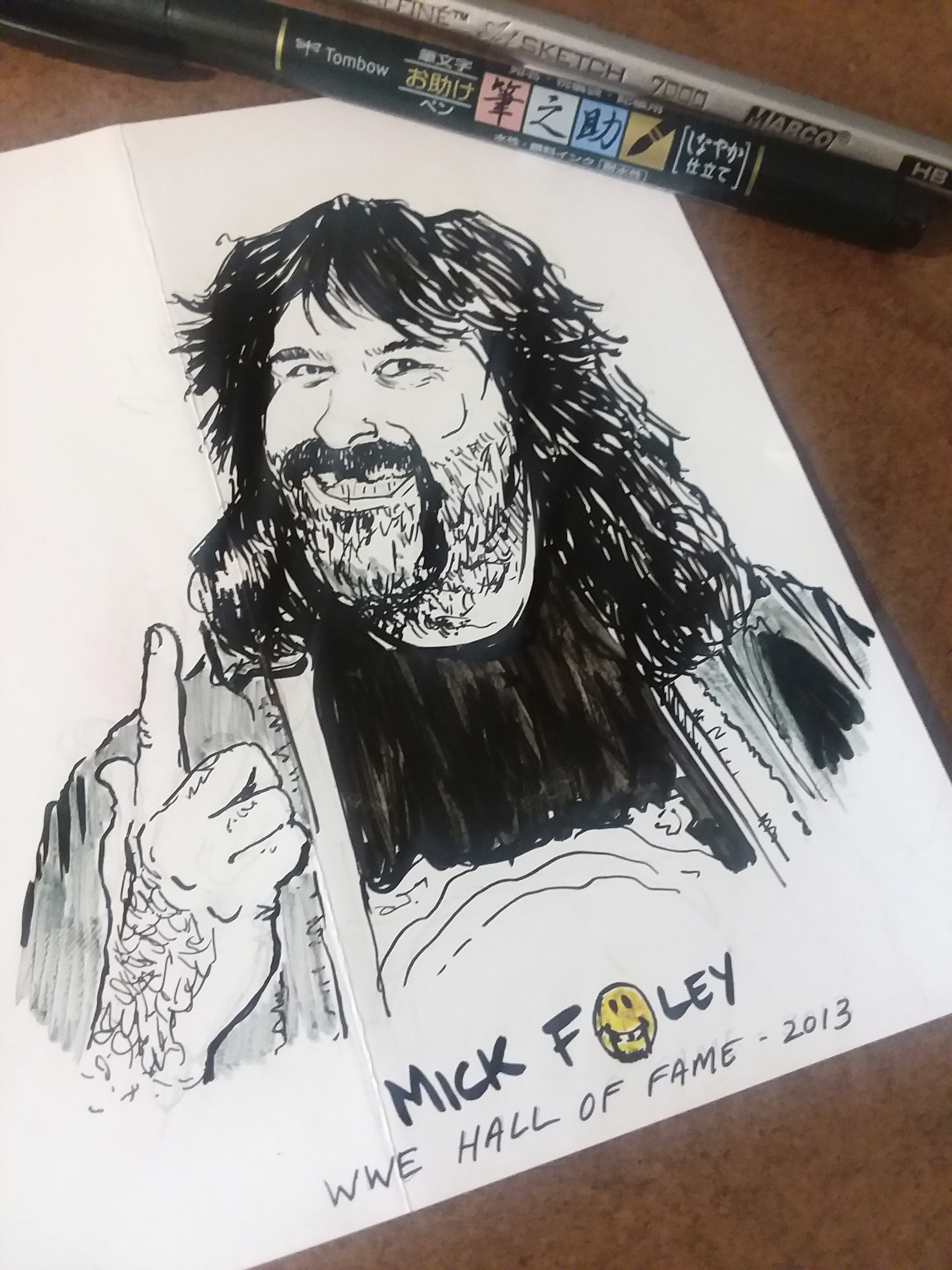 """Mick Foley , WWE's """"The Hardcore Legend"""" - 2013 WWE Hall of Fame Inductee  Paper - Glossy card stock (Scrap)  Size - 4.5'"""" x 5.5""""  Medium - HB Pencil ; Tombow Fudenosuke Brush Pen - Hard Tip  Color - Prisma Color Yellow"""