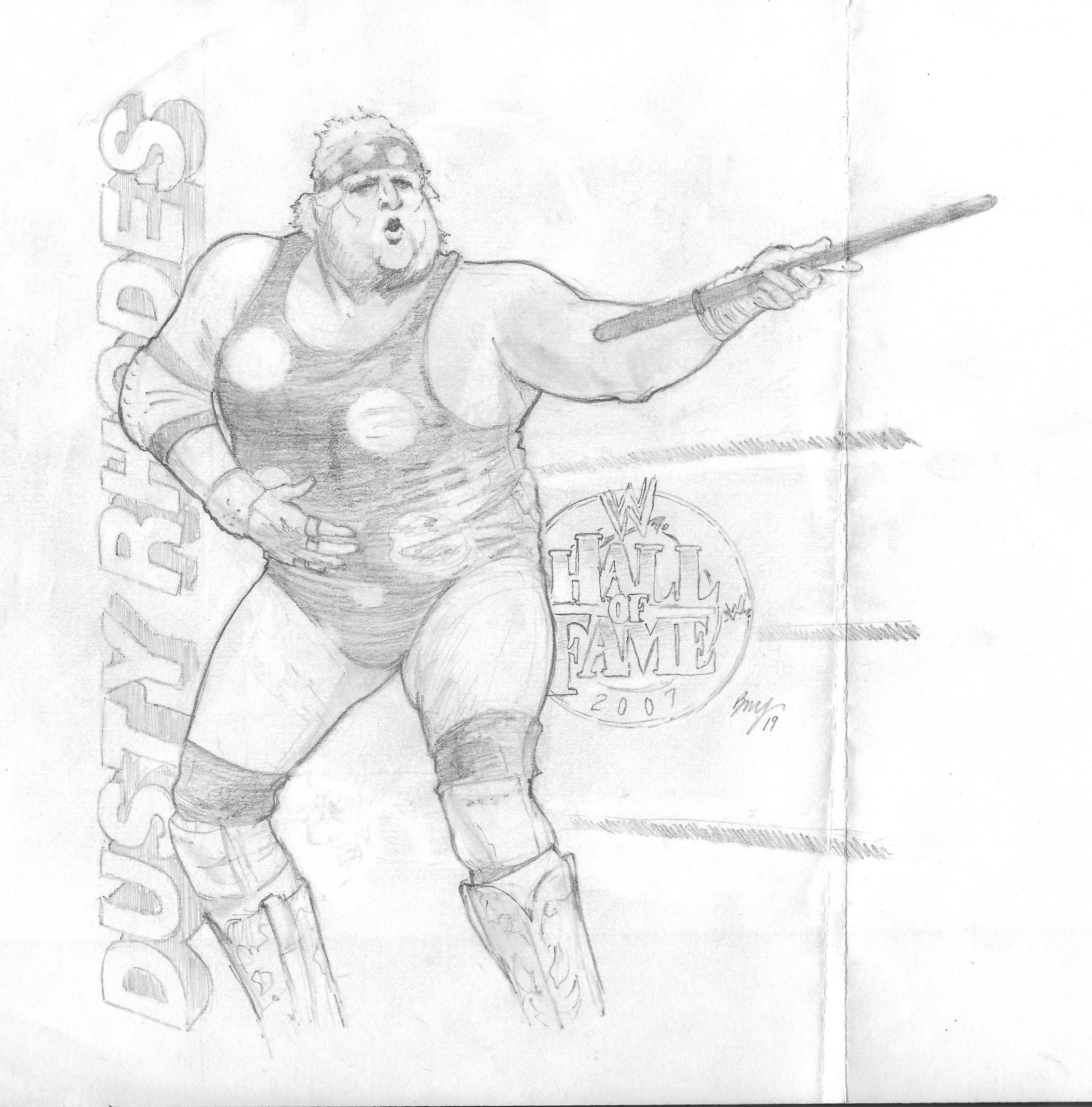 """WWE's Dusty Rhodes , """"The American Dream"""" - 2007 WWE Hall of Fame Inductee  Paper - Multi-use copy paper  Size - 8.5'"""" x 9""""  Medium - HB Pencil ; Eraser - Stick ; Blending Stump"""