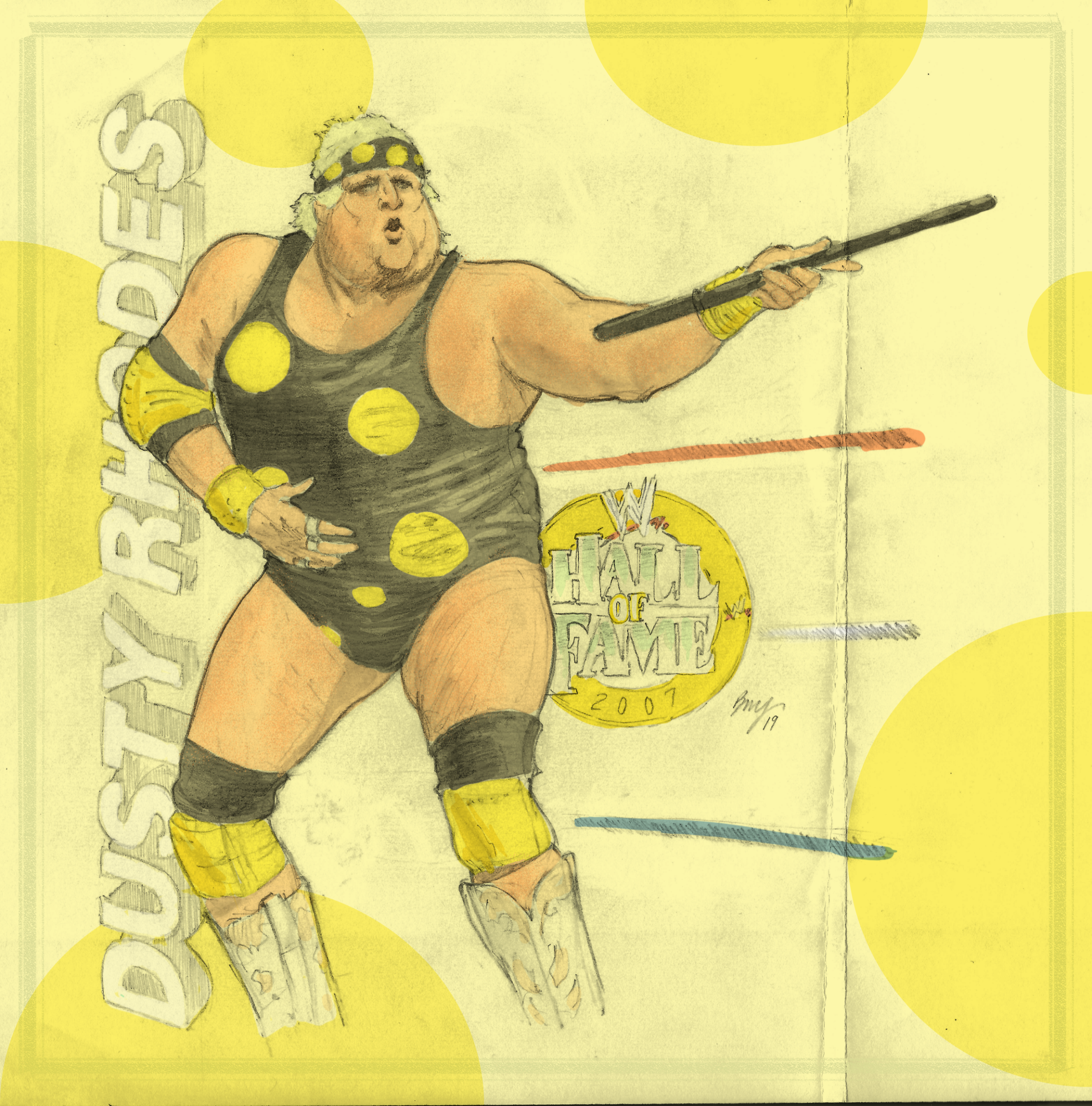 """WWE's Dusty Rhodes , """"The American Dream"""" - 2007 WWE Hall of Fame Inductee  Paper - Multi-use copy paper  Size - 8.5'"""" x 9""""  Medium - HB Pencil ; Eraser - Stick ; Blending Stump  Color - Digital Color (Sketchbook Pro)"""