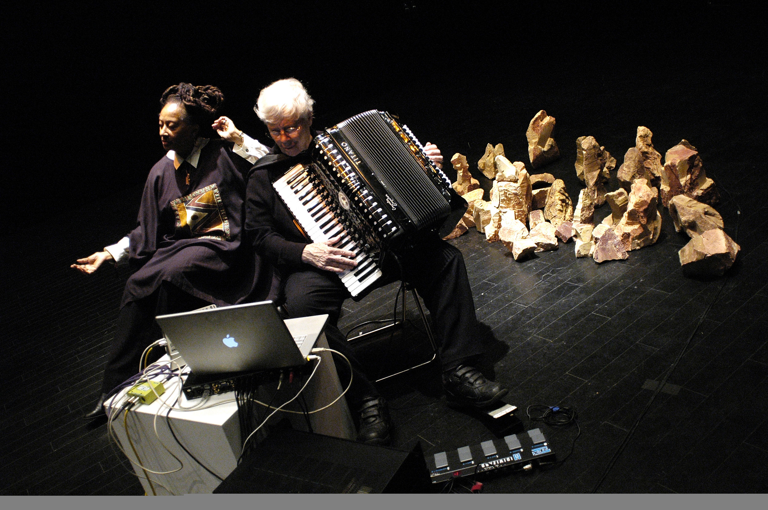 Pauline Oliveros and IONE in performance, photo: Heriko Ikeda