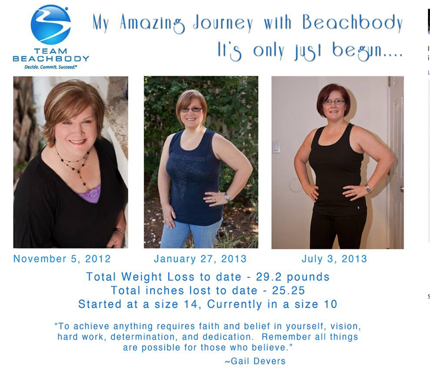Barbie is a grandmother in her 40's who lost both of her parents at a young age due to cardiovascular issues. She didn't want to suffer the same fate. She started in my Nov 2012 challenge group and has lost over 30 pounds so far.