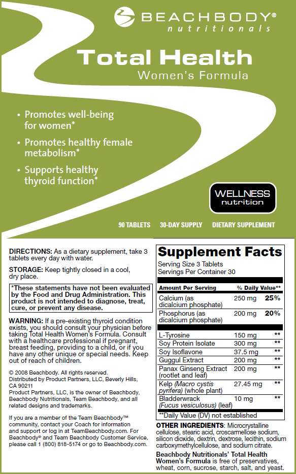 Nutrition Information for Total Health Women's Formula  Click to Enlarge