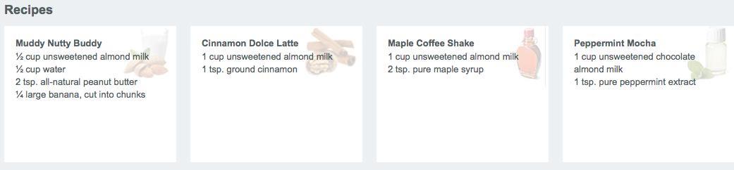 Cafe Latte recipes Shakeology