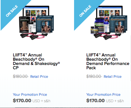 LIIFT4, Beachbody on Demand with either Shakeology or Energize/Recover Bundle $170 total for challenge.