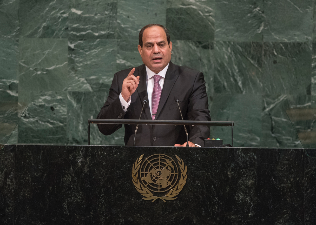 "On 19 September 2017 President Sisi, speaking at the UN General Assembly, called on international allies to ""rectify misconstrued notions which have become an ideological pretext for terrorism"" and join Egypt in its ""unrelenting battle to eradicate terrorism from its territory"". Photo: UN Photo/Cia Pak"