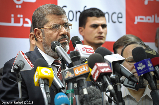Mohamed Morsi pictured as early vote counts suggested he would become the first democratically elected president of Egypt, June 2012. Photo: Jonathan Rashad