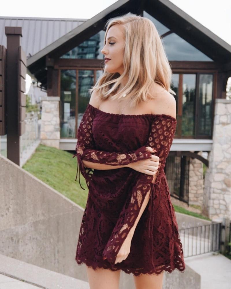 Take My Hand Wine Lace Shift Dress  from  Tobi