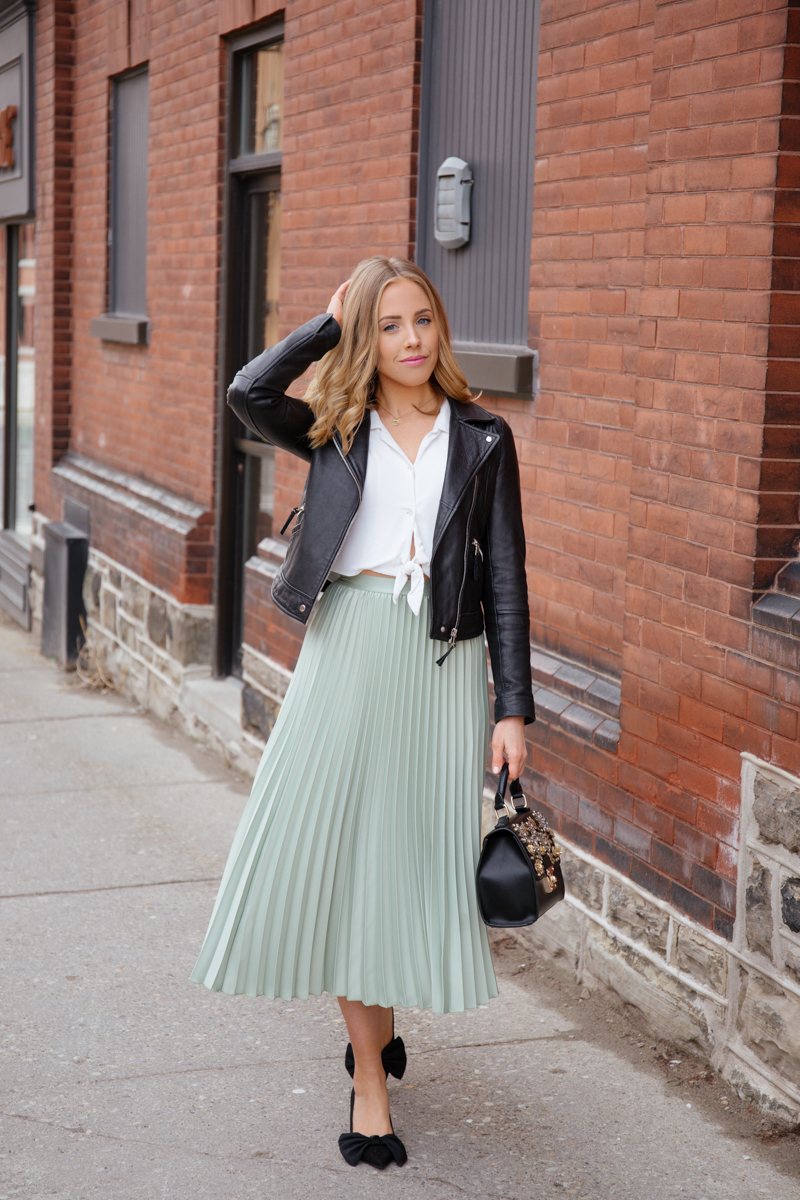 HM Green Skirt and leather jacket.jpg