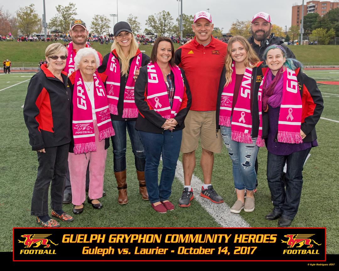 From left: Kayla Billings, Scott McRoberts (UofG Athletic Director), Margaret Stinson, Marissa Teeter, Misty Gagne, Doug Pflug, Alina Kislenko, Kevin McNeil, Isobel Boyle.