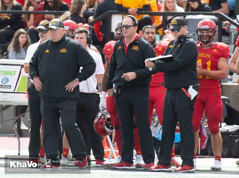 dennis mcphee - defesive coordinator (left), joe sardo - linebacker coach (middle), brian cluff - d-line coach (right)