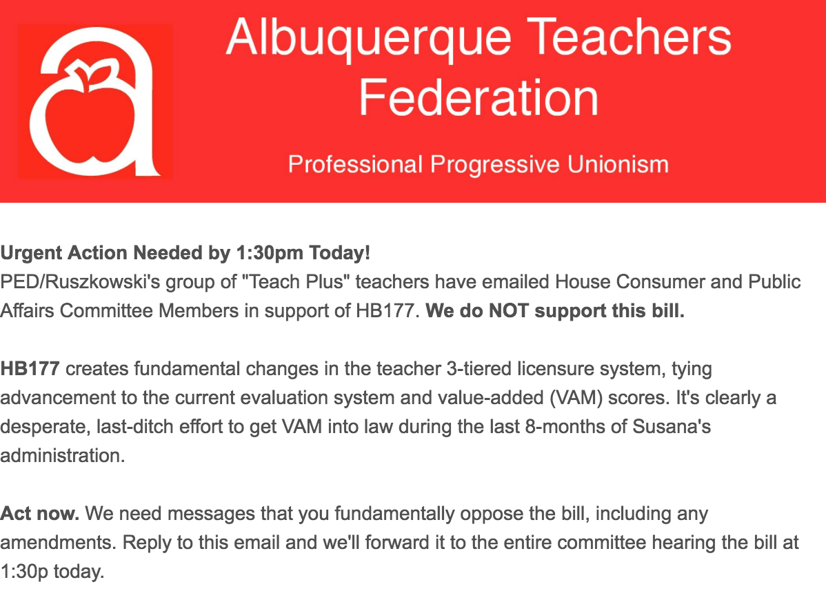 The Albuquerque Teachers Federation and AFT issuing a call of action AGAINST higher pay for teachers in order to score cheap political points.