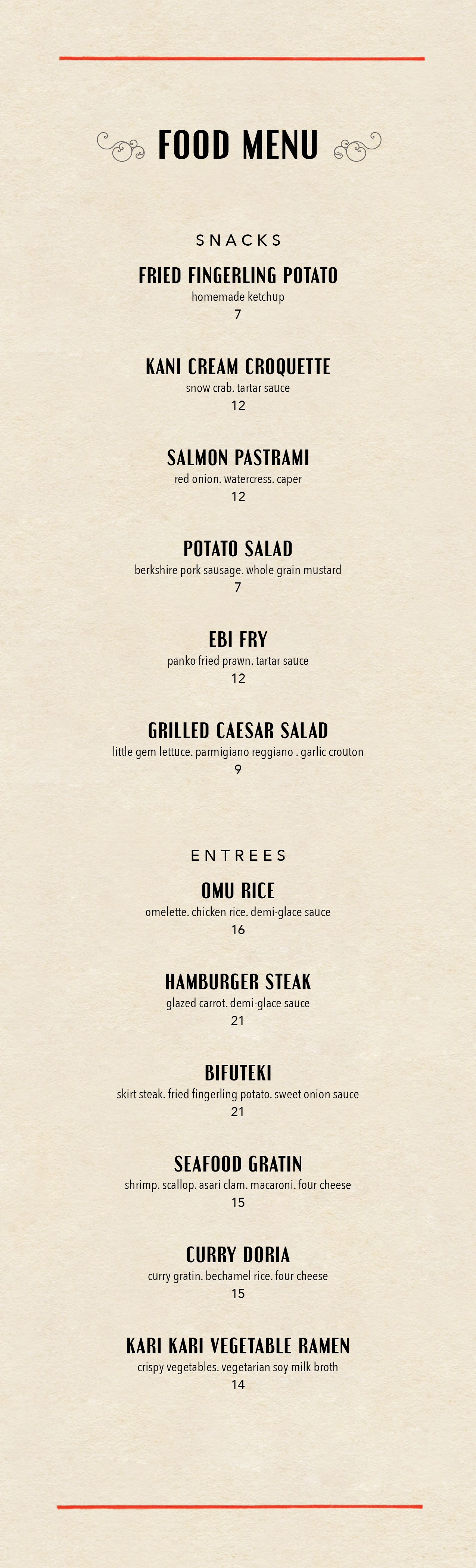 bar moga food menu