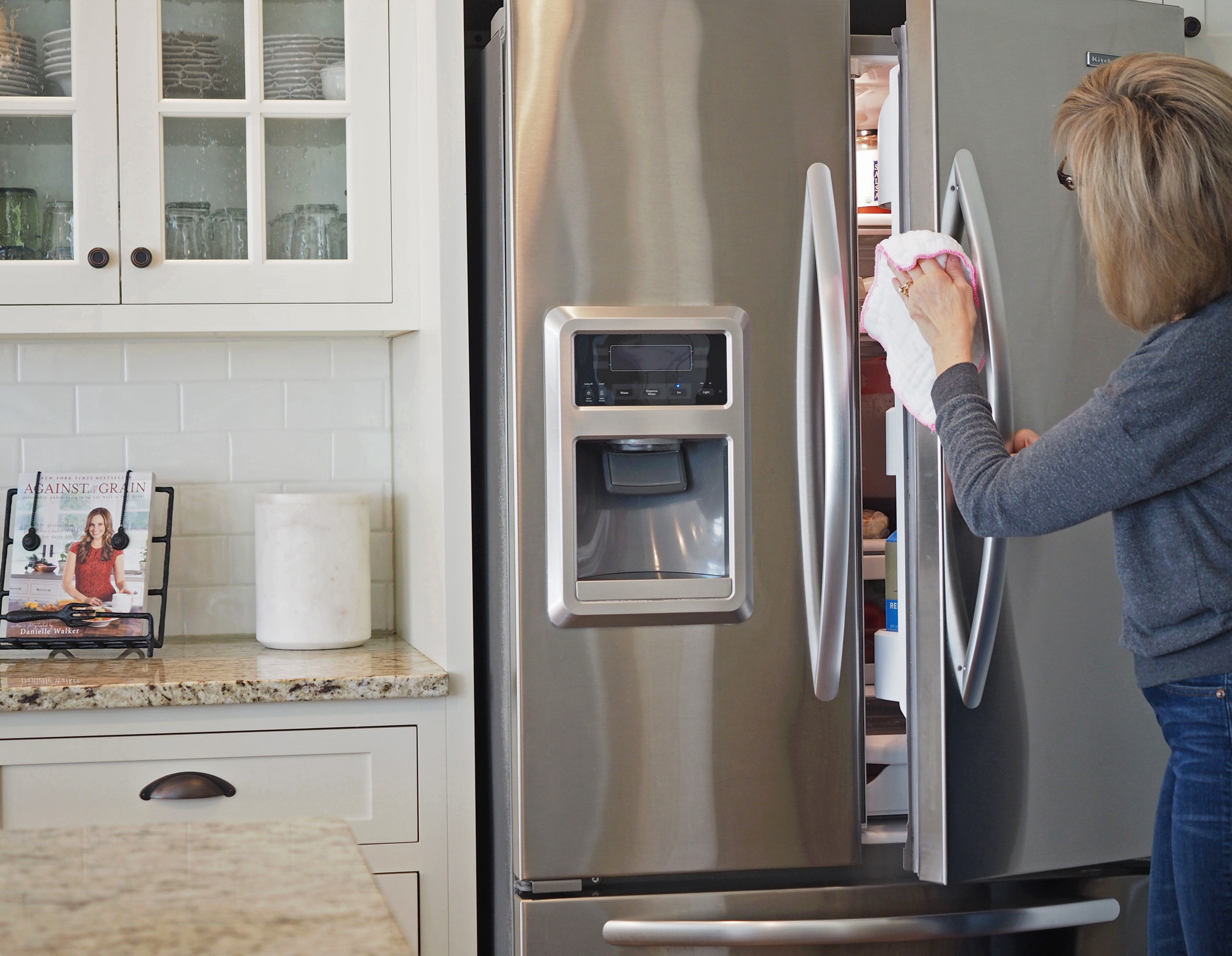 Don't forget to open the doors and freezer drawer too! There are so many fingerprints inside the door. Also, if you have any food or liquid dried up on your appliances, use a wet washcloth to clean that type of dirt off first. I think this product is best for water spots and for bringing back the shine.