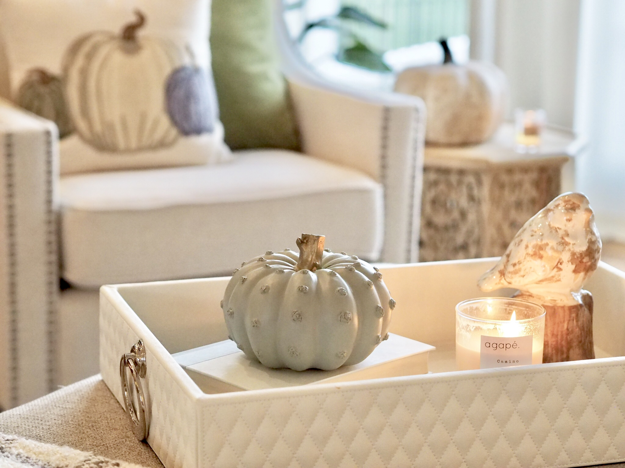Agape Candle in Camino smells exactly like fall! Visit @agapecandles on Instagram! This tray was found at Home Goods last winter. The cute bird on a perch is from Hobby Lobby.