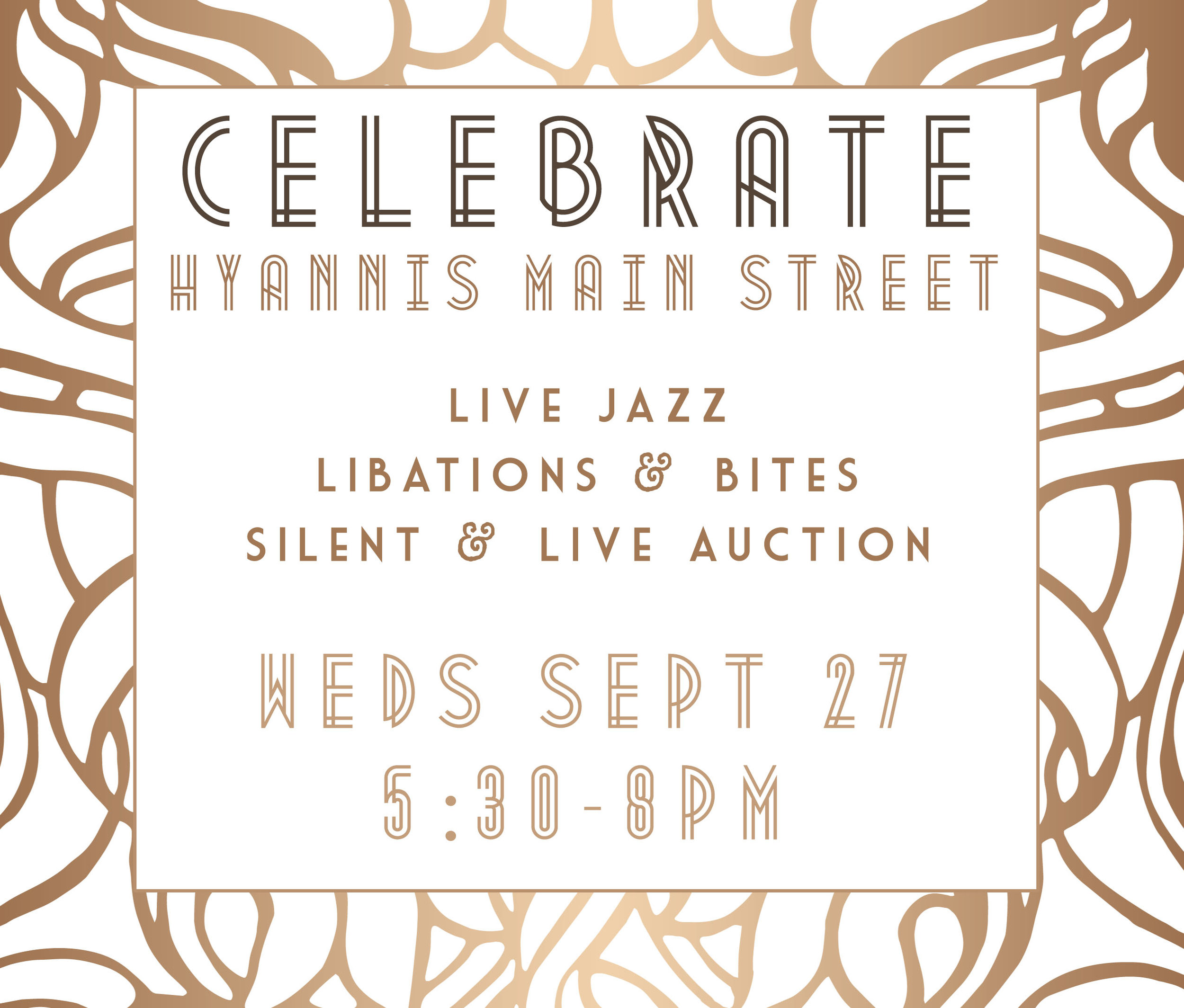 Celebrate Hyannis Main Street at their annual fundraiser at The West End! Live Jazz, Snacks & Libations plus an awesome live & silent auction!  Festive dress encouraged... think Roarin' 20's!  $10