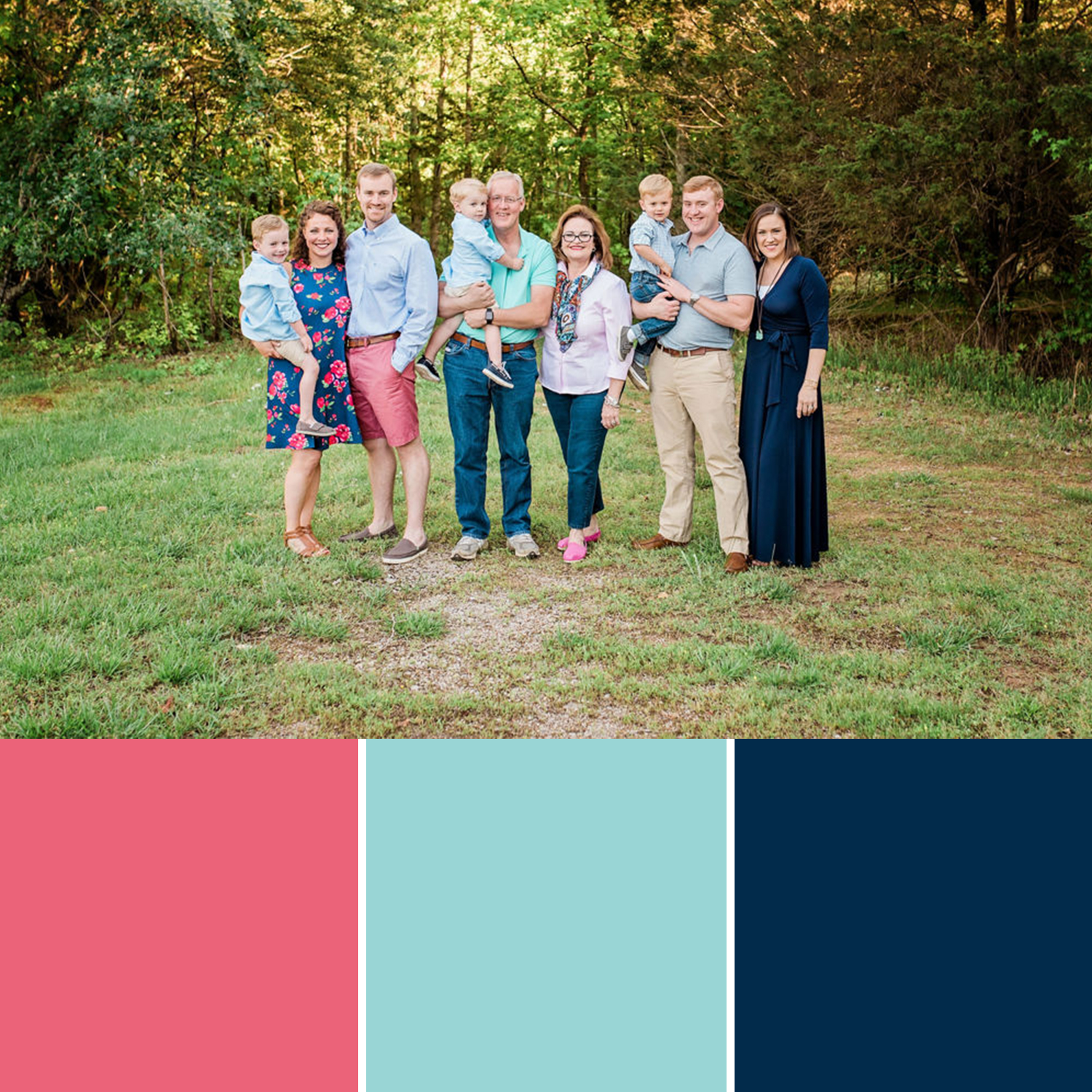 6+ FAMILY SESSION - When getting a big group together coordinating outfits can be a challenge.It is helpful to pick out a color or a color scheme and go from there. I usually suggest blue since everyone seems to have blue in their closets and add a coordinating color for some variation in your big group.When it comes to big groups be sure to communicate with each other on your outfits. Keep the patterns to a minimum - a whole group of people in clashing patterns would not photograph well.