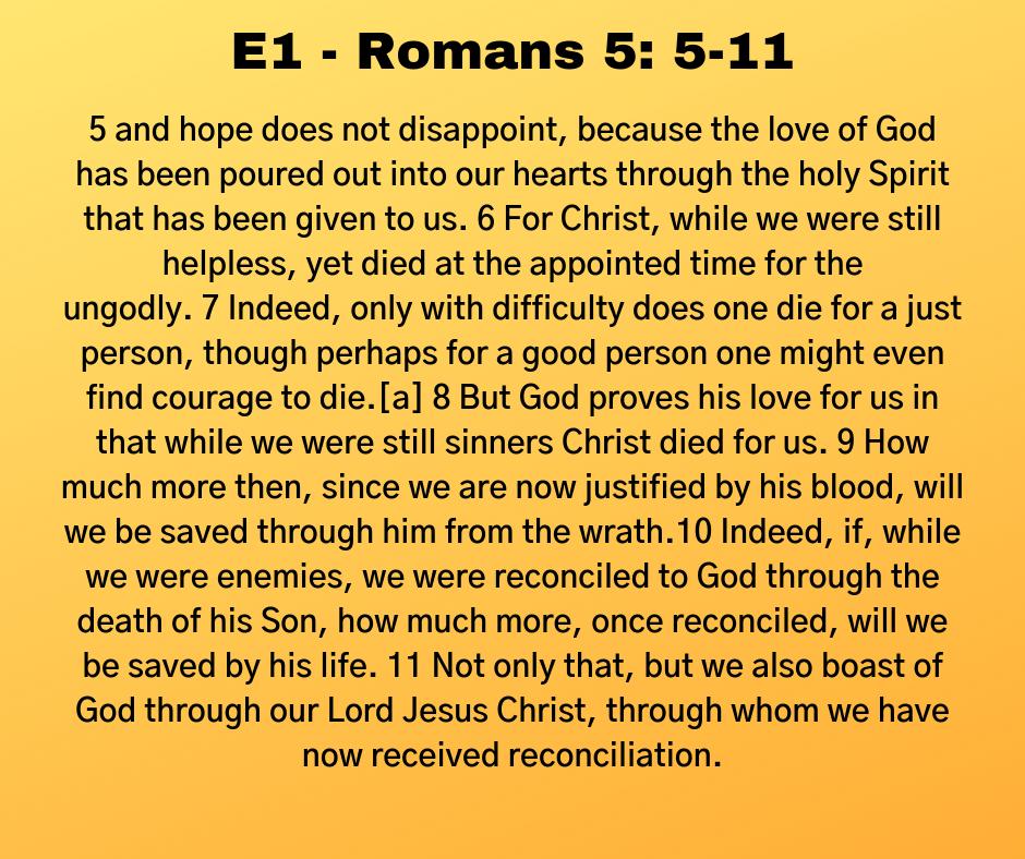 E1 - Romans 5: 5-11