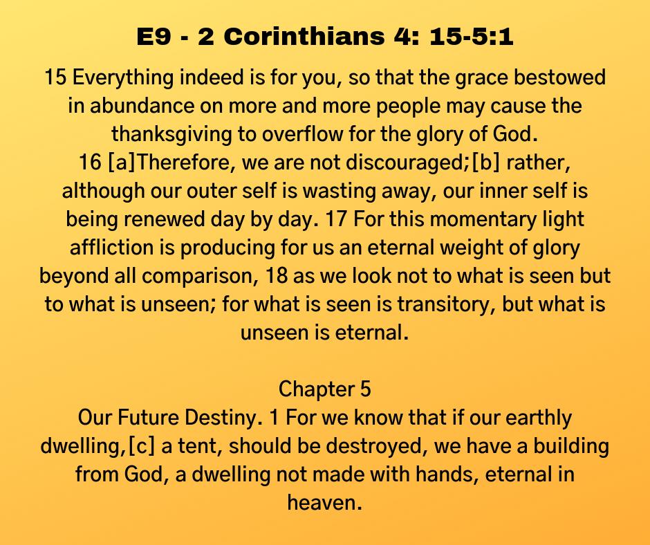 E9 - 2 Corinthians 4: 15-5:1