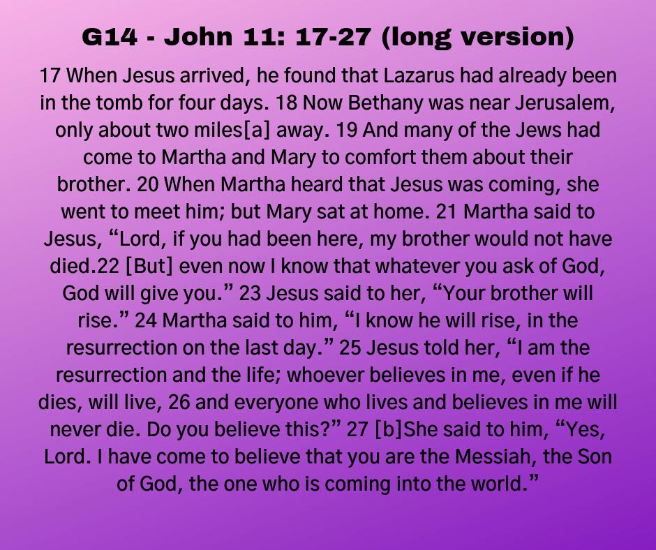 G14 - John 11: 17-27 (long version)