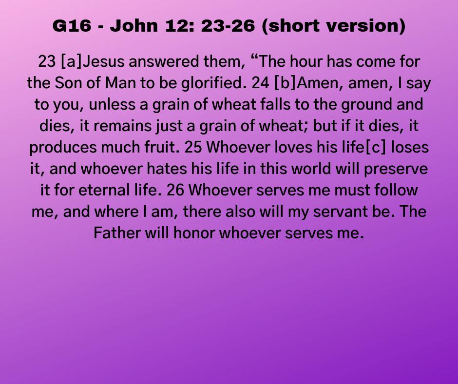 G16 - John 12: 23-26 (short version)