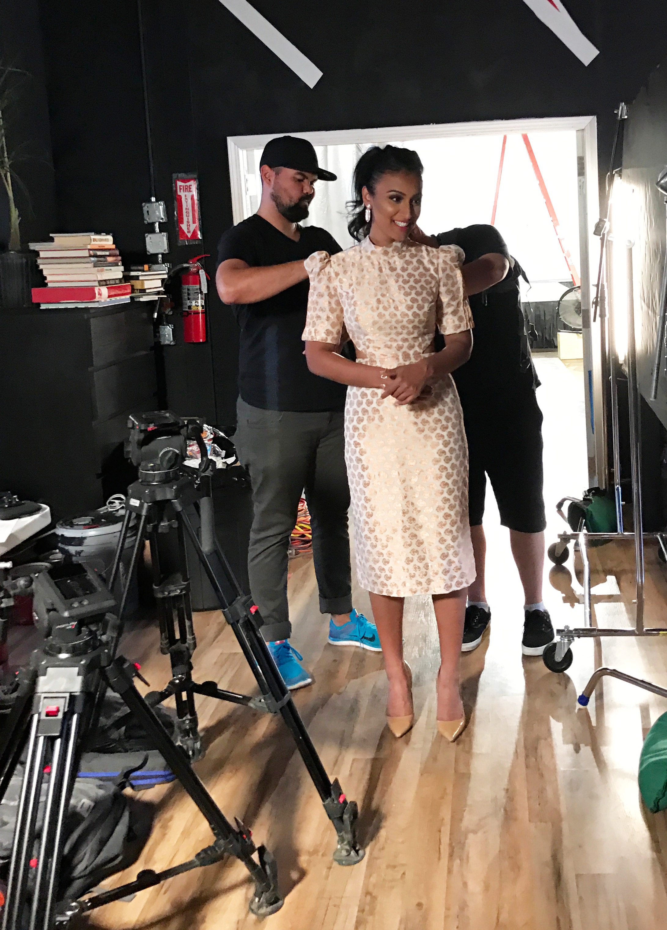 My stylist, Omar always making sure everything's in place! Dress: Designed by me | Accessories: Kendra Scott | Shoes: Kate Spade