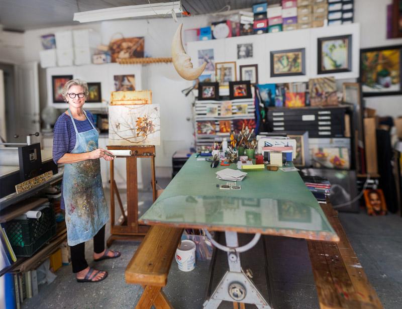 Cynthia, in her home studio