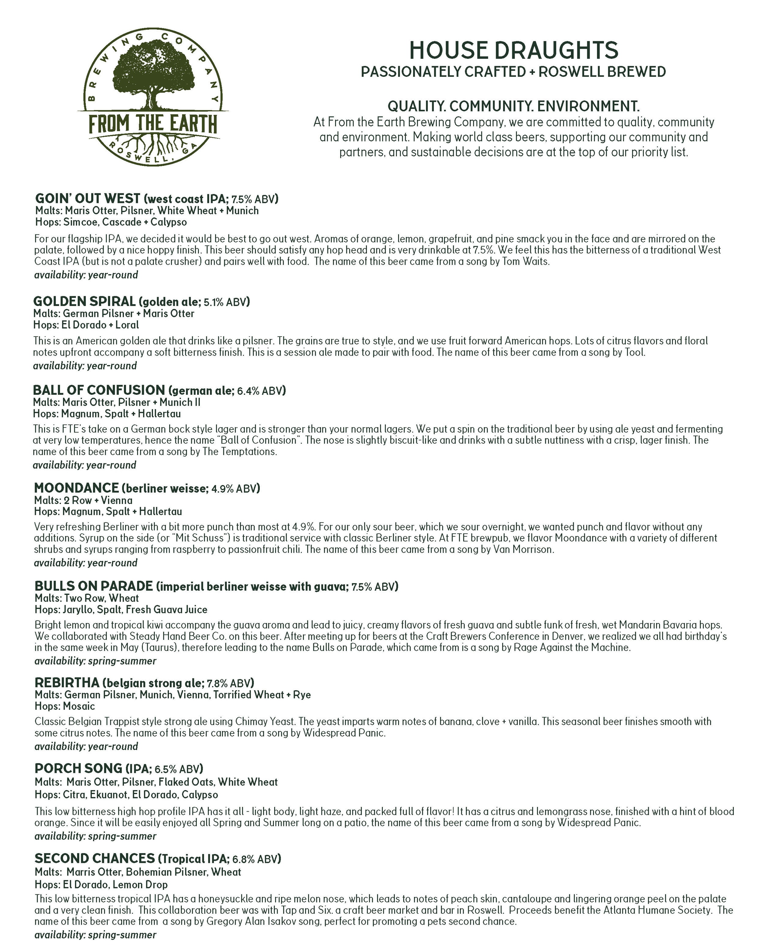 Menus — From the Earth Brewing Company