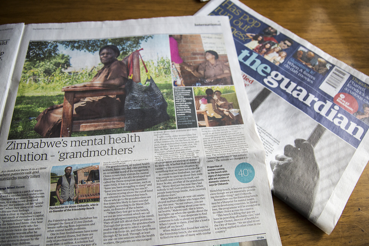 Some of my pictures published in The Guardian UK about the incredible work of the Friendship Bench Project in Zimbabwe. This project is helping many people combat mental health problems by training grandmothers in the community to offer a listening ear to people in need.  Watch video  here