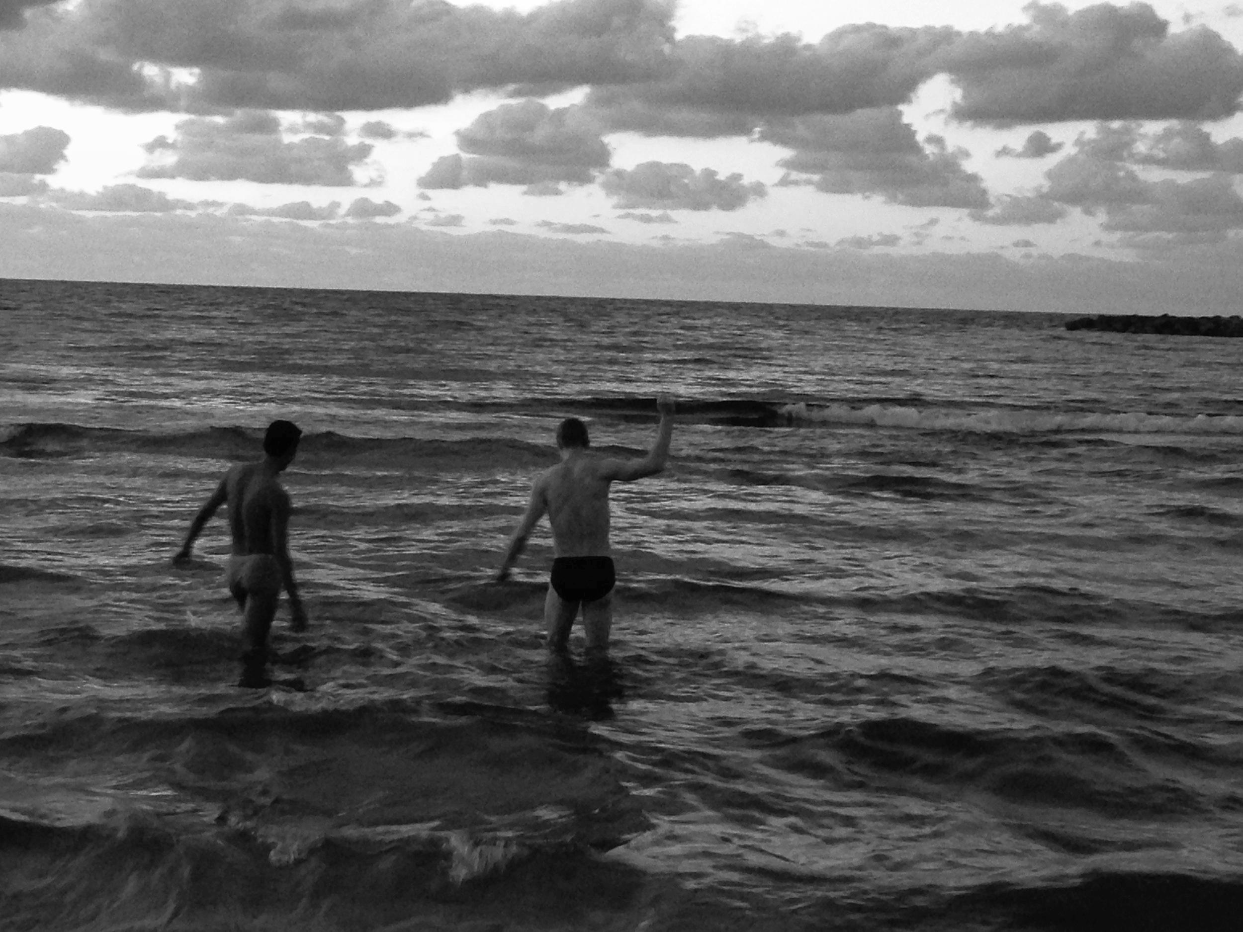"""Tel Aviv Sunset"" [from left:] Stephen Xue and Alex Speedie"