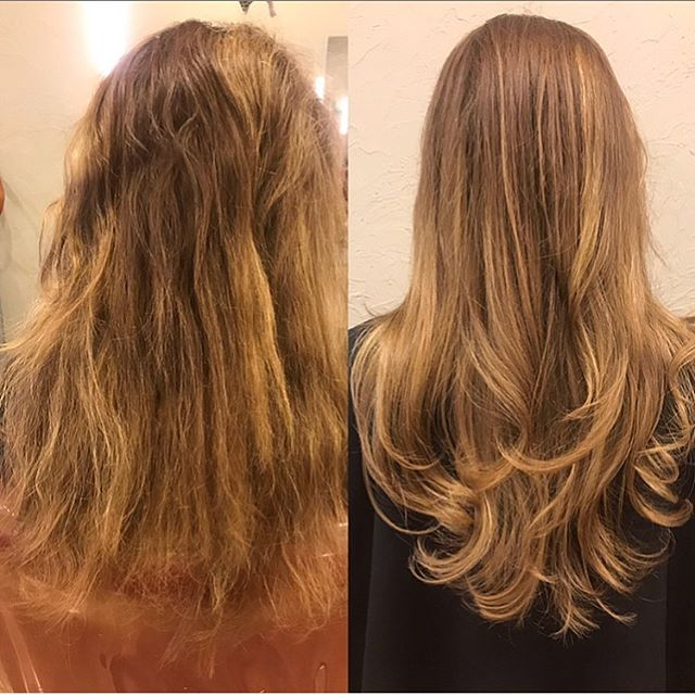 What a transformation!  From frizzy & unmanageable ➡️ Smooth & shiny in one sitting & no down time! • @brazilianblowout 💥