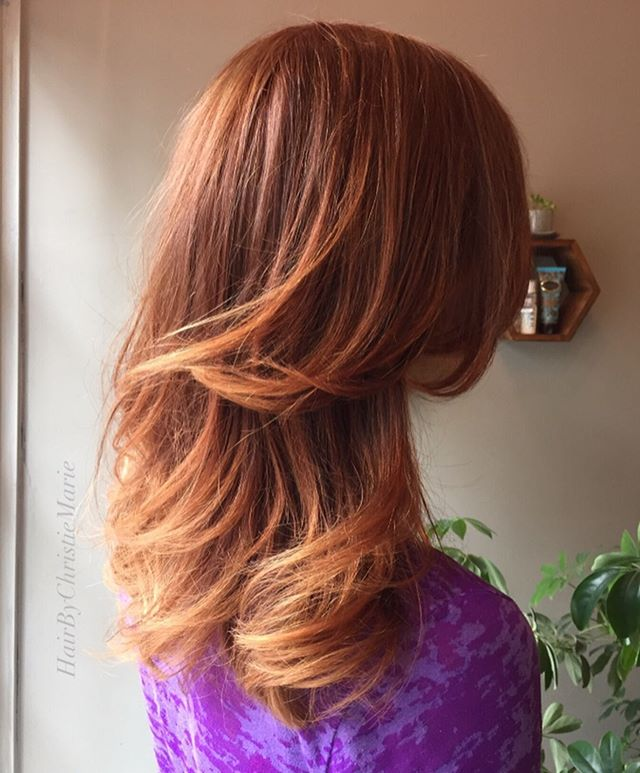Sugar And Spice and She's Actually Everything  Nice 😜. @hairbychristiemarie gave this beauty a multi dimensional Ginger Copper Pop. Enjoy, Ginger  Swipe for the Before.  #copperhair #falllooks #freehandpainting #colormelts