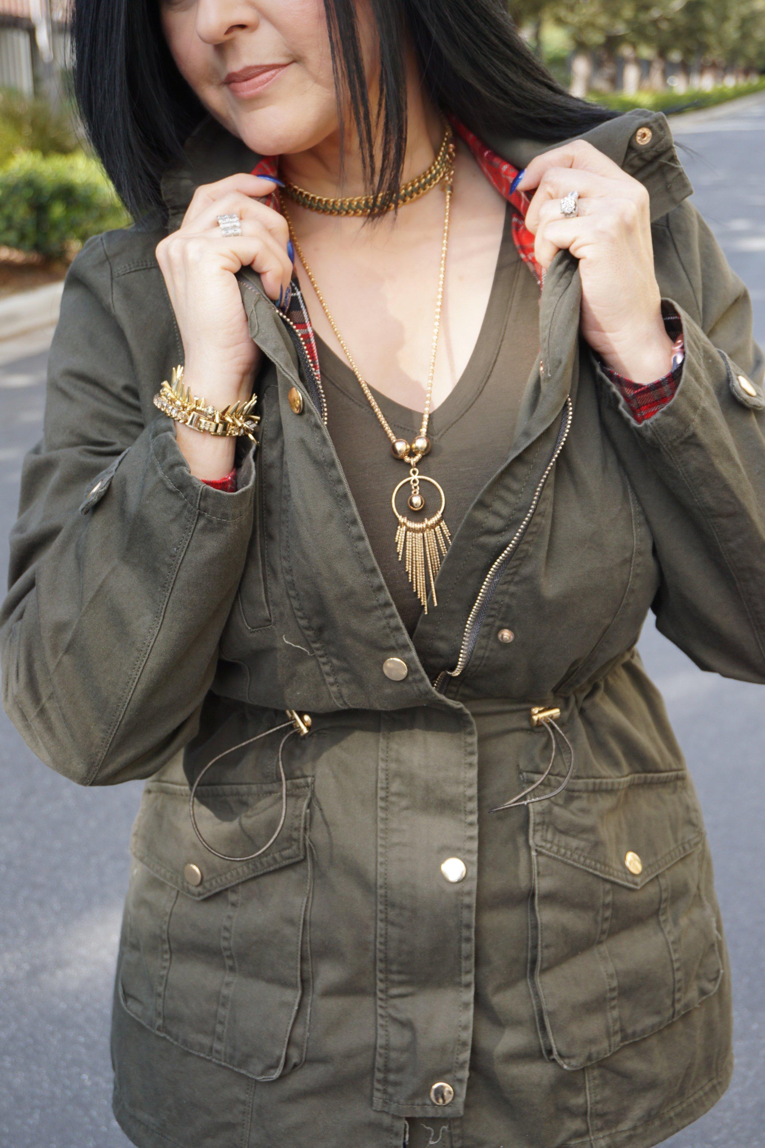 Long necklace is available at / Choker Henri Bendel - Sold Out / Spike Bracelet - Kinsley Armelle
