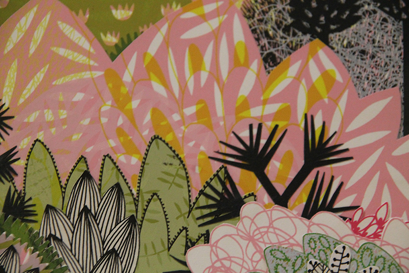 Detail, Screen-print collage, for charity art auction, 2015.