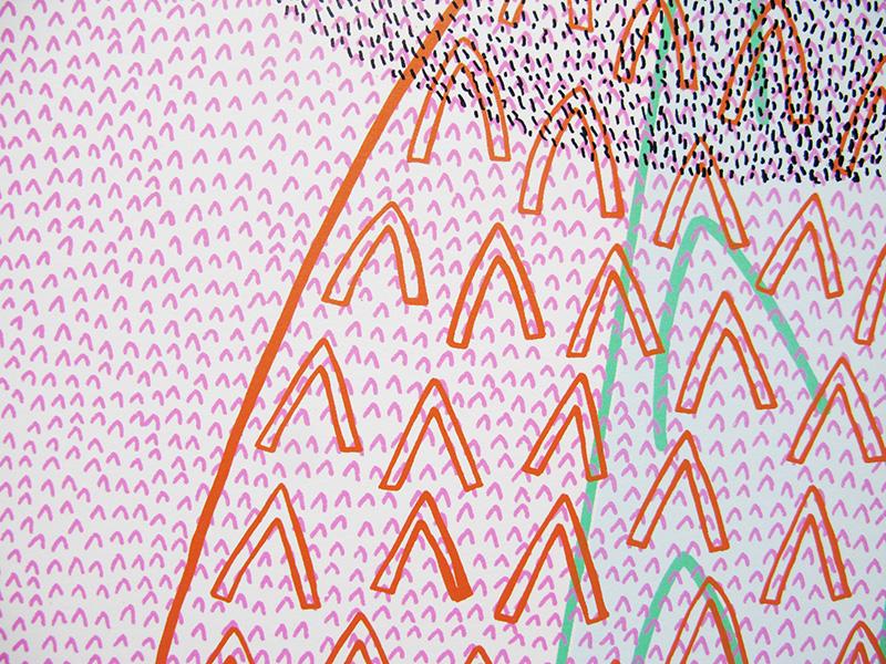 Detail from 'Peak Bagging', screen-print, 2004