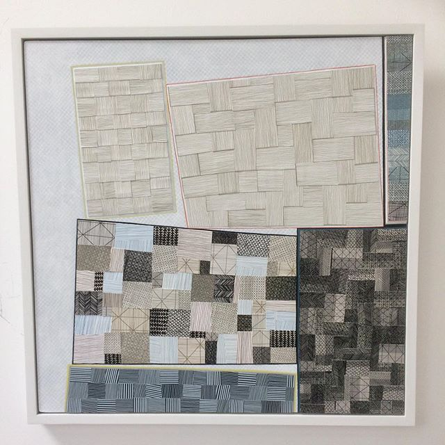 A recent collage, acrylic paint and screenprinted paper on board. 65x65cm . . • #grayswharfstudios #design #artist #screenprinting #jessiehigginson #collage #contemporaryart #printmaking
