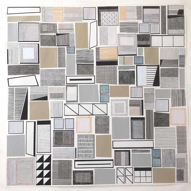 Last week I was having fun with the scissors. Collage on paper 80x80cm. . . • #grayswharfstudios #design #artist #screenprinting #jessiehigginson #collage #contemporaryart #printmaking