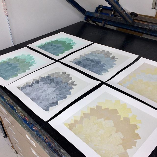 Tonal colour tests. I have been learning how to make multi layer prints in an edition. These are 6 colour prints which I will be printing in a small edition in three colour ways. . . • #grayswharfstudios #design #artist #jessiehigginson #printmaking #contemporaryart #jessiehigginsoncreative #screenprinting