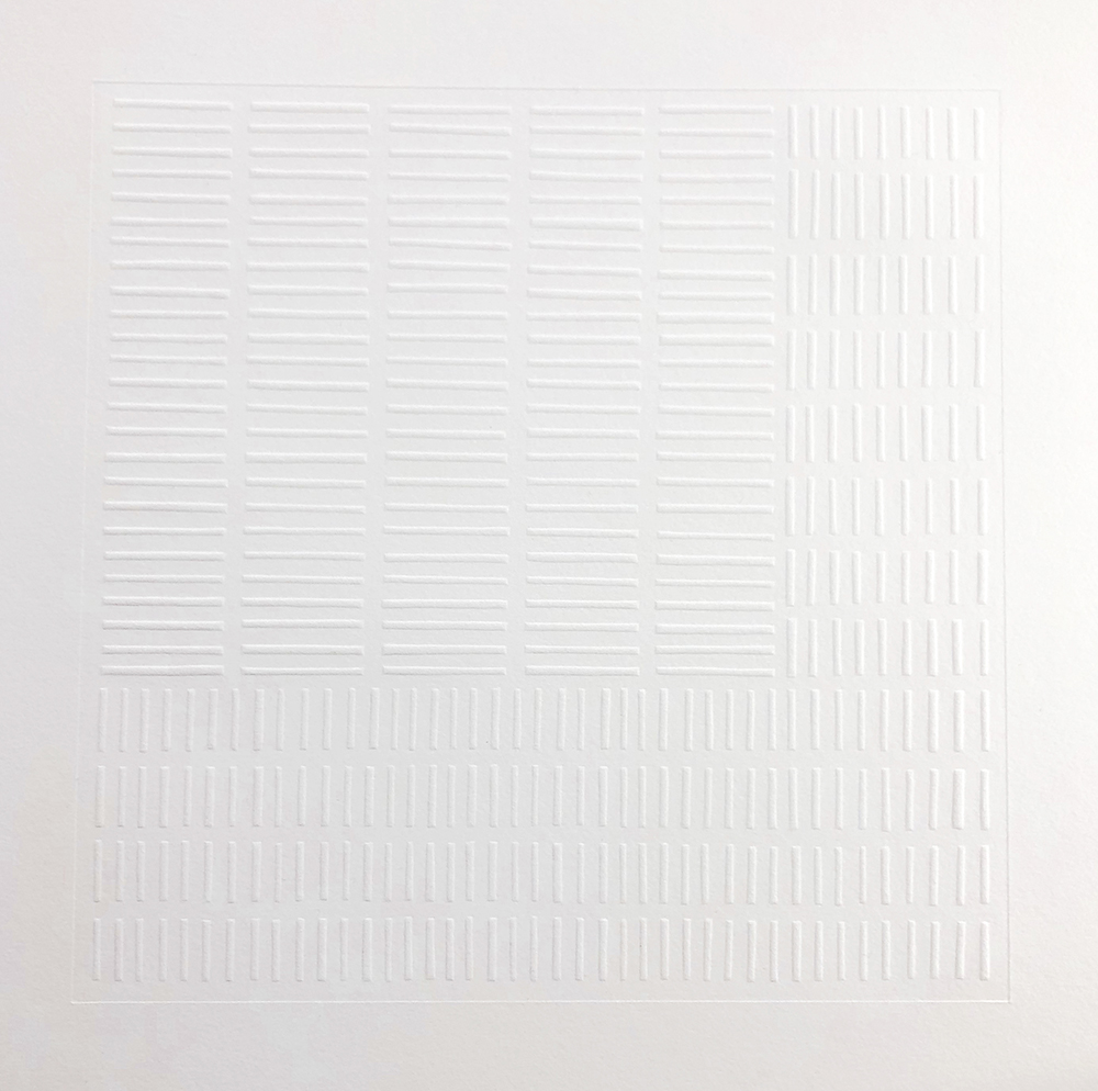 Flow   Relief embossed print. Edition of 5, 50 x 50cm, 2019. POA.