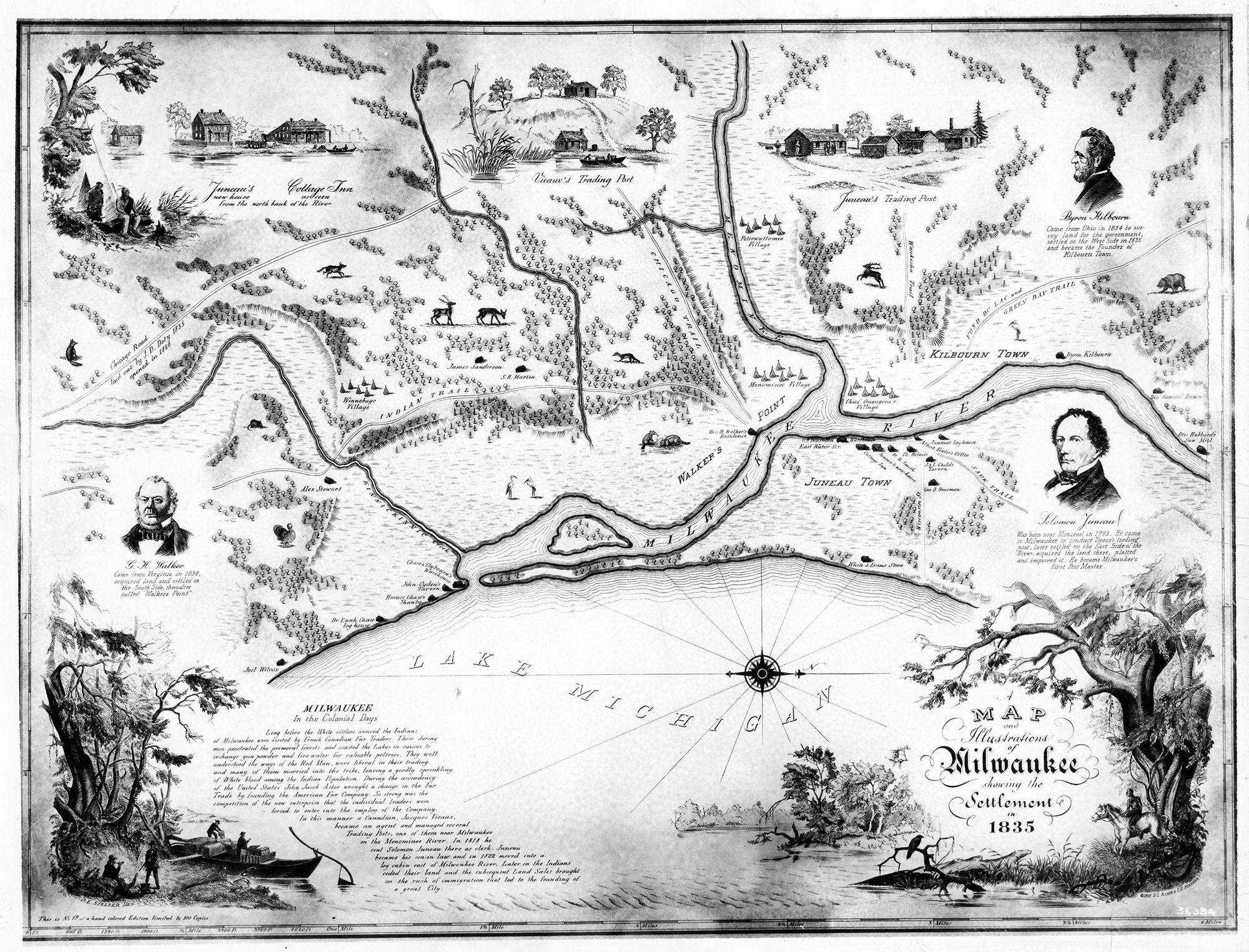 Map of Milwaukee print, circa 1835 showing founding fathers, Lake Michigan, Milwaukee, Menomonee rivers, and Kinnickinnic rivers (at this time, named Kinnickinnic creek) and Native American villages.